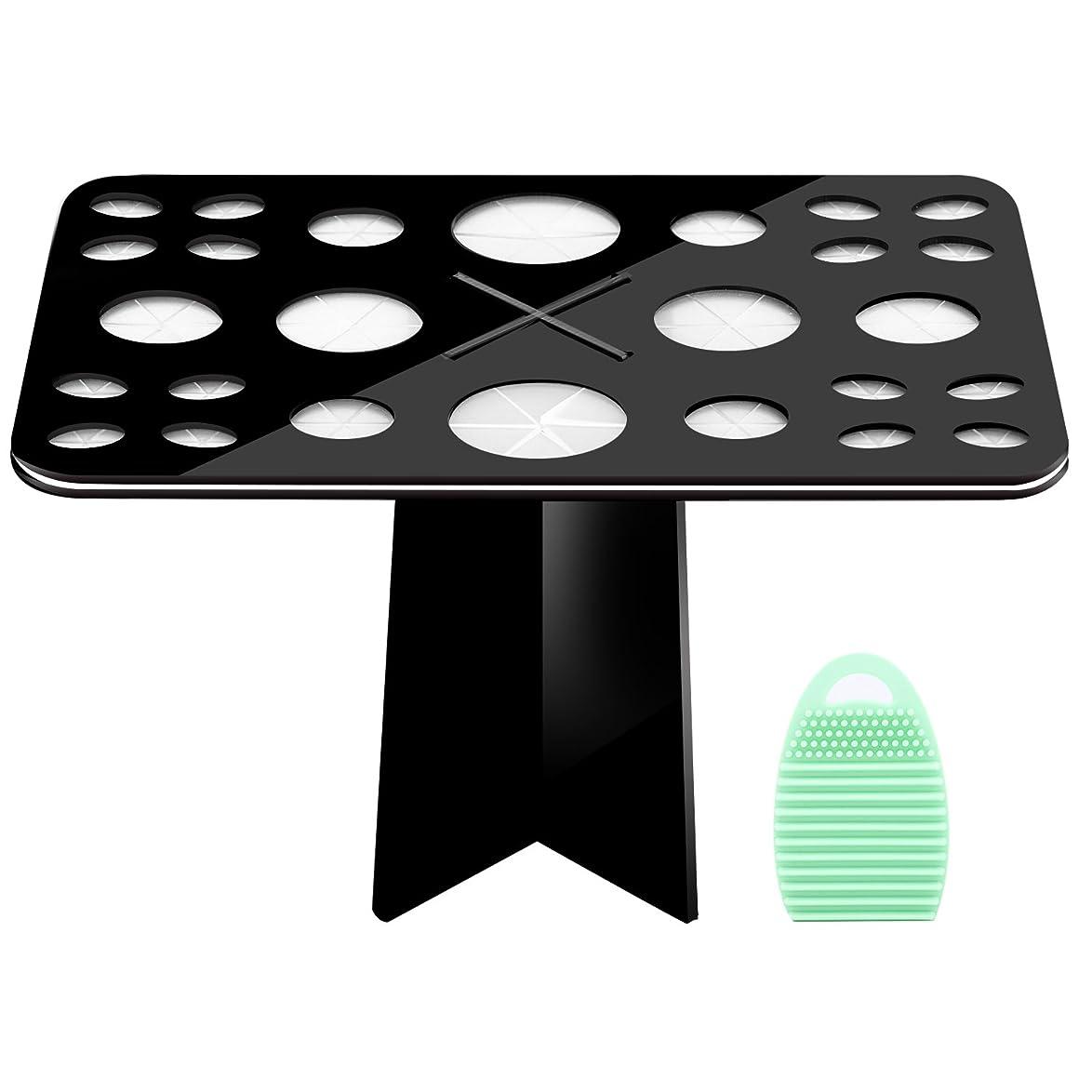 メイクブラシスタンド+メイクブラシクリーナーセット - Luxspire コスメホルダー 小型軽量の洗濯板 ブラシ洗濯とブラシ乾かすのに最適
