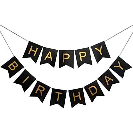 Party Propz Black and Gold Happy Birthday Banner Decoration for Boys, Girls, Boyfriend, Girlfriend, Husband,Kids Bday Celebrations,Bunting Tags,Flag Decorative Items Decor