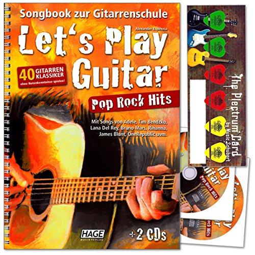 Let's Play Gitaarpop Rock Hits - 40 gitaarklassiekers zonder notenkennis spelen van Alexander Espinosa - Songbook naar de gitaarschool met 2CD's en muziek-schaats plectrum-Card©