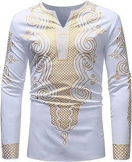 Mens Luxury African Print Autumn Winter Long Sleeve Dashiki Shirt Blouse