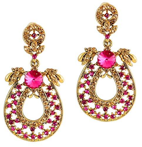 Pendientes colgantes final del oro Touchstone diamante rosa para las mujeres de América
