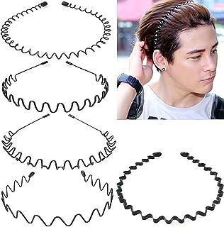 5Pcs Unisex Wavy Headband Metal Hair Band for Men Women Hair Hoop Clips, MH MOIHSING Elastic Non Slip Wide Hoop Headband O...