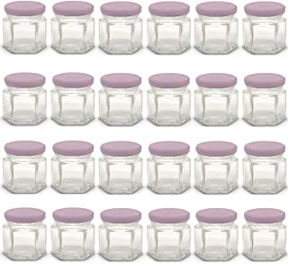 1.5 oz Hexagon Mini Glass Jars with Light Purple Lids and Labels (Pack of 24)