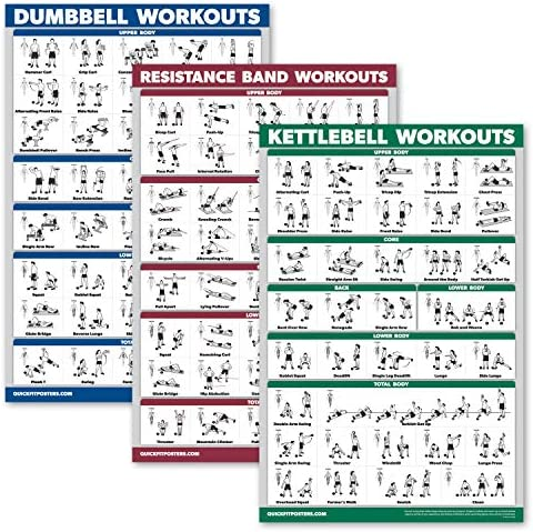 Palace Learning 3 Pack Dumbbell Exercise Poster Kettlebell Workouts Resistance Bands Exercises product image