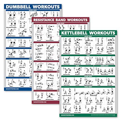 Palace Learning - Juego de 3 póster de ejercicio con mancuernas + ejercicios de pesas rusas + bandas de resistencia, 18' x 27', Laminado.