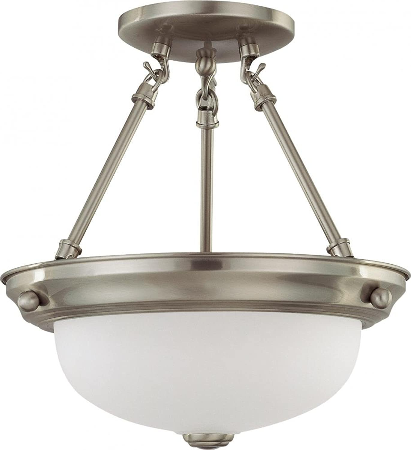Nuvo Lighting 60 3244 Two Light Semi Flush Mount, Brushed Nickel Frosted Glass