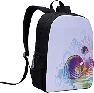 Tropical Animals Casual Backpack,Colorful Squids Surrounded by Algae Swimming in Ocean Pixel Featured Exotic Sea for College,12″L x 5″W x 17″H