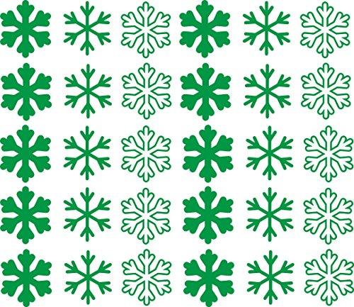 Kerstdecoratie: 30 sneeuwvlokkenstickers voor glas, ramen, meubels, wanden en elk glad oppervlak. Afmetingen van een sticker: 6 x 5,5 cm. Celeste Y Blanco