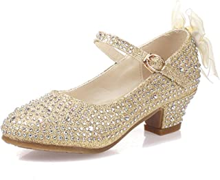 LJYHD Low Heel Shoes Girl Flower Sequins Flash Dress Party Shoes