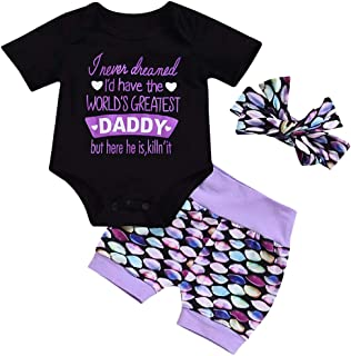 KIDDAD Newborn Baby World Greatest Daddy Letters Print Romper+Mermaid Fish Scale Shorts Pants+Headband Outfits Clothes