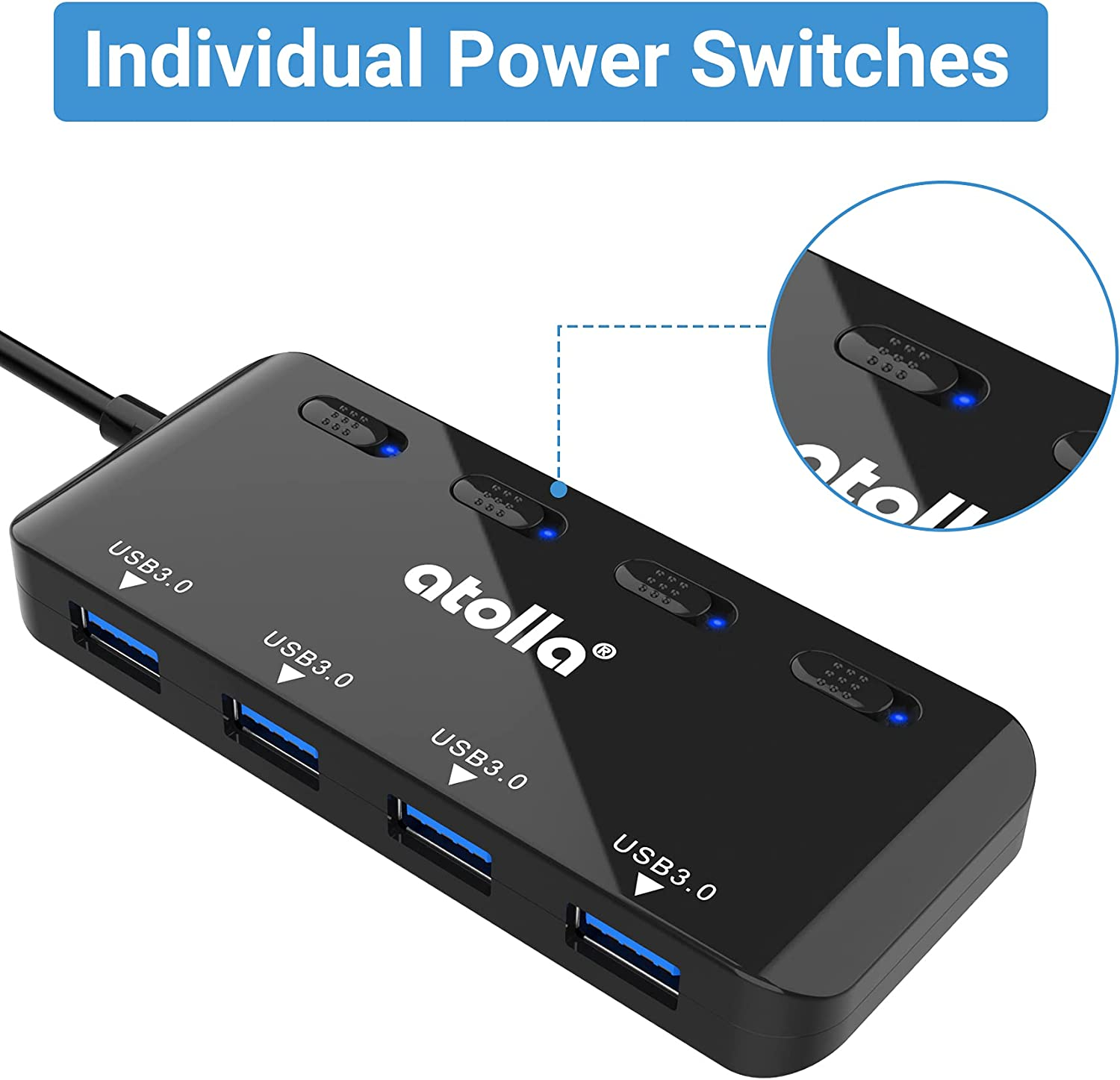 atolla USB Hub, 4-Port USB 3.0 Hub with Individual LED Power Switches & 2 Ft Cable, Ultra Slim USB Splitter for PC, Mac Pro/Mini, iMac, MacBook Air, Surface Pro, USB Flash Drives, Mobile HDD