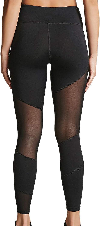 Women's Mesh Leggings Yoga Pants with Pocket, Non See-Through Capri High Waisted Tummy Control Stretch