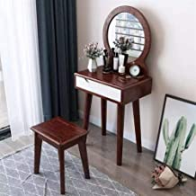 Dressing Table Solid Wood Dressing Table with Makeup Mirror and Makeup Stool, Girl Bedroom Furniture, Set (Color : C)