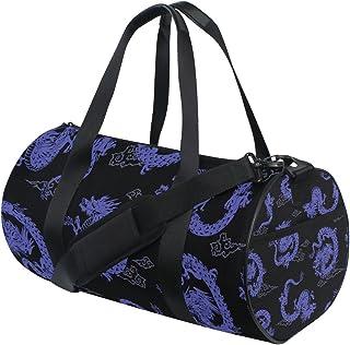 MASSIKOA Purple Japanese Dragon Gym Duffle Bag Drum Tote Fitness Shoulder Handbag Messenger Bags for Men and Women