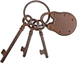 Esschert Design Tuindecoratie, sleutelhanger met slot, roestbruin, 7,5 x 6,5 x 19,8 cm, DB64