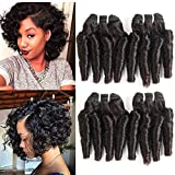 Molefi Brazilian Funmi Hair Loose Wave 4 Bundles Spiral Curl Hair Bundles Short Curly Weave 8A Unprocessed Brazilian Human Hair Extensions 50g/pc Full Head Natural Color (8 8 8 8 Inch)