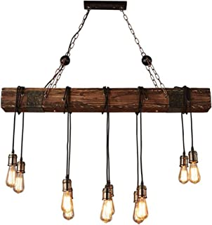 Q-Connect ZY lámpara colgante Bauernhaus estilo Dark Distressed Vigas de madera grandes Linear Island