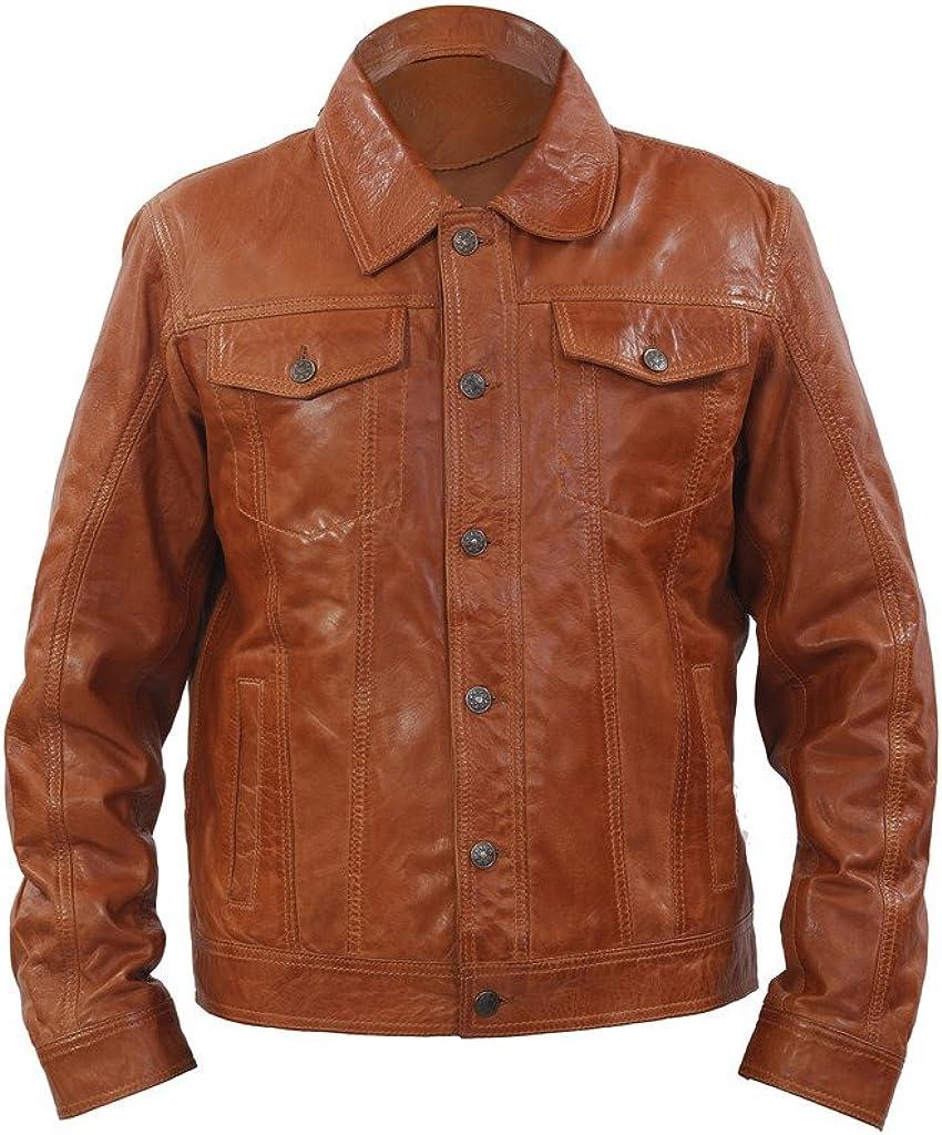 Men's Trucker Slim Fit Casual Tan Leather Shirt Jeans Jacket