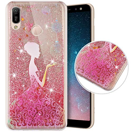 Coque Compatible avec Huawei Y6 2019/Honor 8A,Transparente Coque Paillettes Mobiles Glitter Liquide Motif Peint TPU Souple Silicone Housse Etui de Protection Complete Antichoc Brillant Gel,Princesse