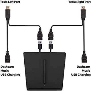 Upgraded Tesla Model 3 Wireless Charger GAIBEST Premium Interior Center Console Wireless Dual Phone Charging Pad with Two USB Ports for All QI-Enabled Smart Phone-Fit All Tesla M3 Except Standard Rang