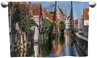 DUCKIL Absorbent Towel European Cityscape Decor Collection Vivid Scenery with Water Canal in Bruges Old Town European Fairy Heritage Decor Soft Bath Towel 63 x 31 inch Multi