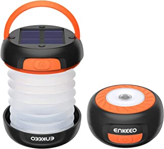 ENKEEO Camping Lantern Collapsible LED Light Flashlight with Rechargeable Battery (via Solar or USB) Portable for Outdoor Hiking Backpacking Tent Emergencies