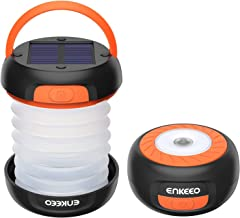 ENKEEO Solar Camping Lantern Collapsible LED Light Flashlight with Rechargeable Battery (via Solar or USB) Portable for Outdoor Hiking Backpacking Tent Emergencies