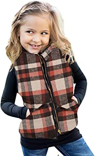 Ivay Girls Buffalo Cotton Plaid Quilted Vest Cute Puff Lined Gilet Orange