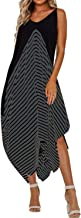 STYLE DOME Womens Sexy Summer Maxi Dress Long Striped Sundress Spaghetti Strap Causal Party Dress