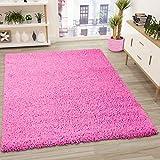 VIMODA Alfombra Prime Tipo Shaggy de Pelo Largo en Color Rosa Fucsia, alfombras Modernas para el salón y el Dormitorio, Monocolor, Maße:100x200 cm