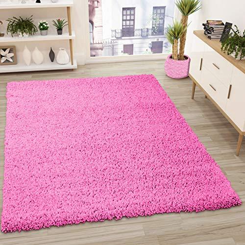 VIMODA Prime Shaggy Teppich Pink Hochflor Langflor Modern, Maße:140x200 cm