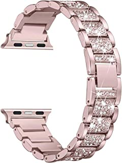 HEMOBLLO 38mm Metal Crystal Watch Band Replacement Wristband Strap for Apple Watch 1/2/3 (Rose Pink)