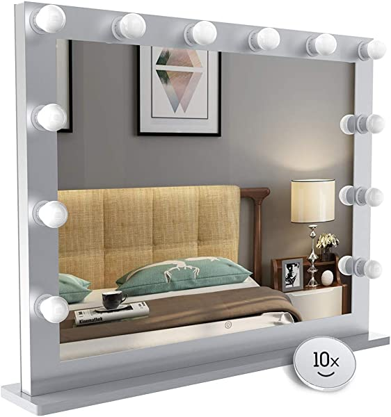 Nitin Hollywood Style Lighted Vanity Mirror Tabletop Makeup Mirror With Dimmer Lights Touch Control Large Cosmetic Mirror Silver