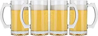 Lily's Home Classic Beer Stein Glasses, Thick Bottoms and Handles, Also Work Great for Root Beer Floats or Lemonade (16 oz. Each, Set of 4)