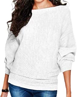 Womens Bat Sleev Casual Loose Knite Blouse Knitted Sweater Pullover Tops