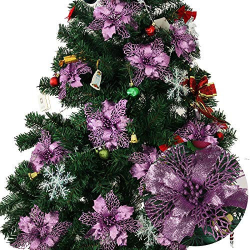 RECUTMS 12 Pcs Christmas Glitter Artificial Poinsettia Flowers 6.7inch Christmas Wreath Christmas Tree Flowers Ornaments Holiday Seasonal Decorations (Purple)