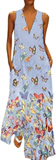 Dubocu Women Dress Sleeveless V Neck Vintage Print Summer Loose Swing Casual Party Maxi Dress Evening Gown With Pockets