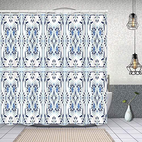Airmark Cortina Baño,patrón de Talavera Azulejos Portugal Ornamento Turco,Cortina de Ducha Tela de Poliéster Resistente Al Agua Cortinas de Ducha Baño con 12 Ganchos,150x180cm