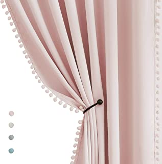 Pompom Blackout Curtains for Bedroom Pink Girls 84 inch Energy Efficient Thermal Insulated Living Room Darkening Curtain P...