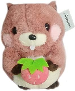 Plush Groundhog Woodchuck Stuffed Animal Toys Dolls Holding Strawberry Pink 8.7