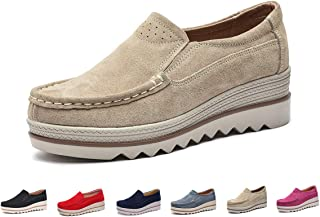 Women Platform Slip On Loafers Comfort Suede Casual Sneaker Fashion Moccasins Low Top Mid Heel Wedge Penny Shoes