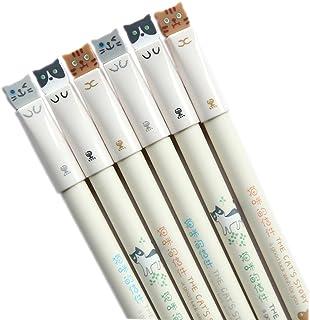 GANSSIA Colorful Cats Design 0.38mm Gel Pens Black Ink Pen Pack of 6 Pcs