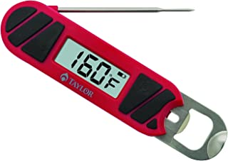 Taylor Precision Products 830GW Folding Bottle Opener Grill Thermometer, Red