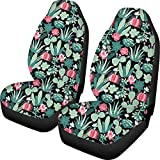 HUGS IDEA Stylish Floral Cactus Printed Auto Seat Protector Bucket Seat Cover for Car SUV Truck or Van Polyester Fabric Elastic Cushion