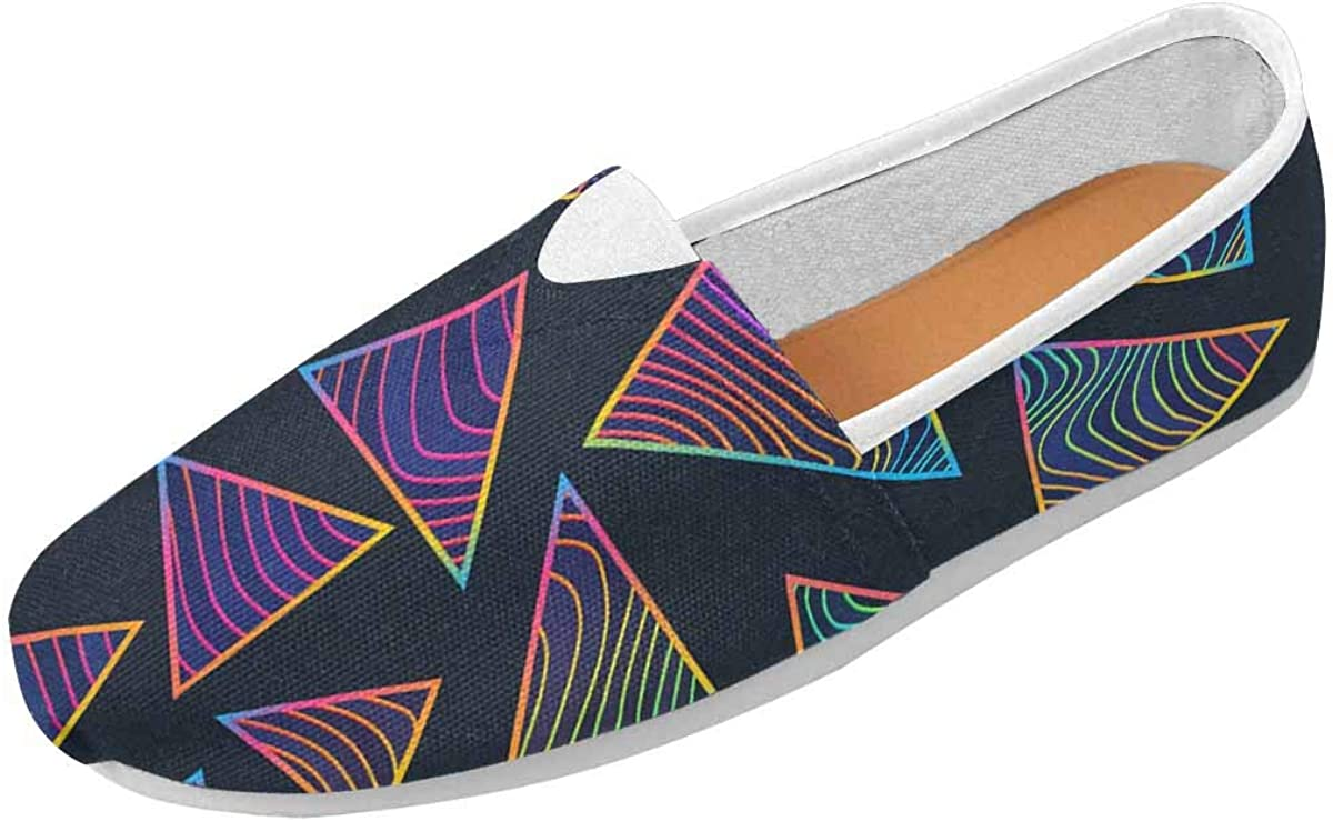 InterestPrint Rainbow Triangles with Neon Lines Women's Lightweight Comfort Slip On Fashion