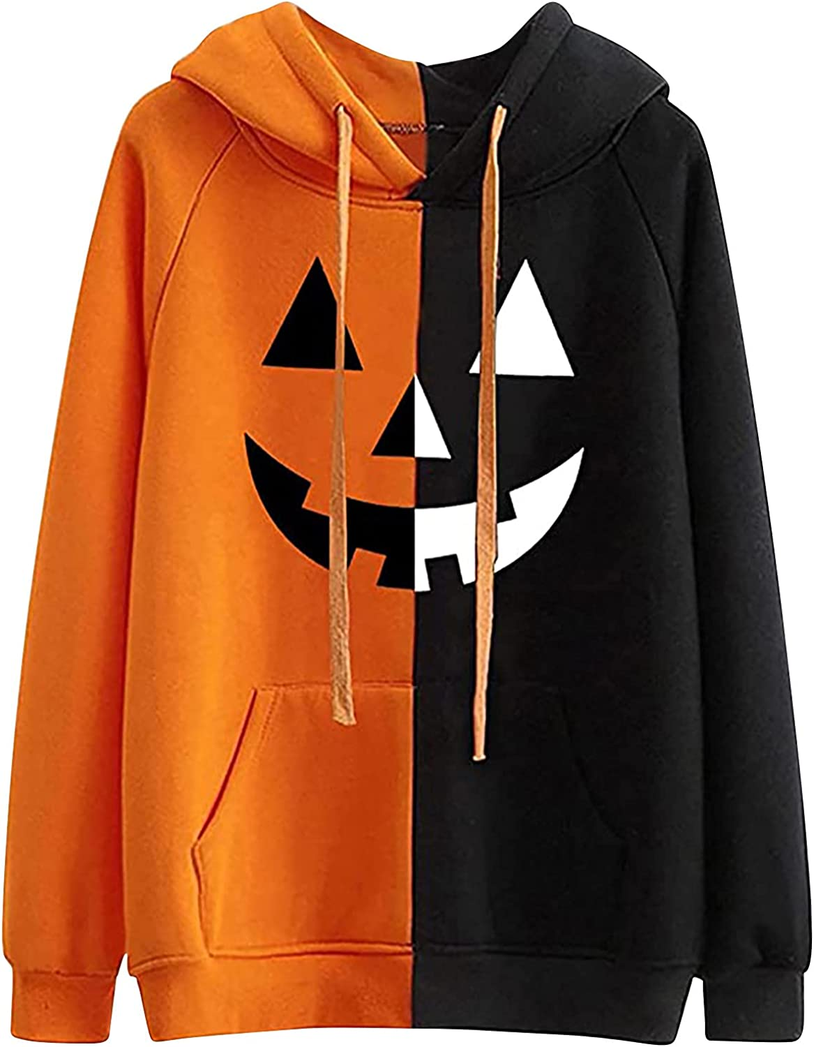 Halloween Two-Color Stitching Smile Color Block Print Hoodie For Women Casual Long Sleeve Pockets Pullover