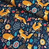 Glünz Jersey Fuchs Nachtblau / 0,5 m/Kinderstoff /