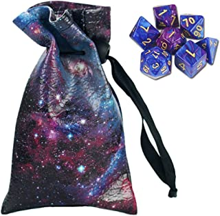 QIELIZI DND Dice Bag Pouch,PU Leather Dragon Dice Pouch Wih 7 Die Set Perfect for D&D Dices, Coins and Accessories(Star Night)