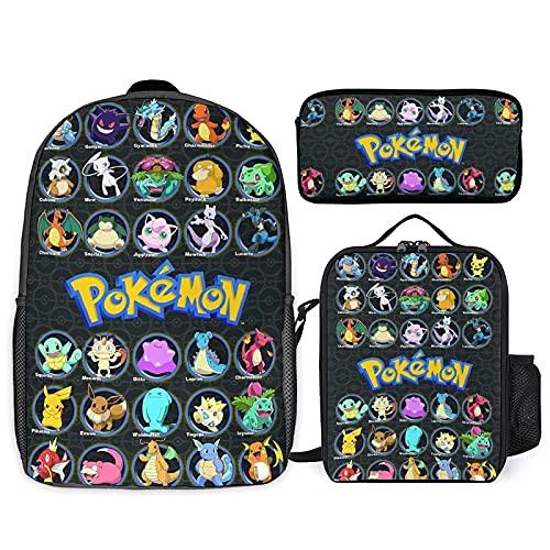 Mochila de 3 piezas con mochila de 17 pulgadas con caja de almuerzo aislada y bolsa de lápiz ajustable correa de hombro mochila elegante 3D bolsa grande, Color 4, Taille unique