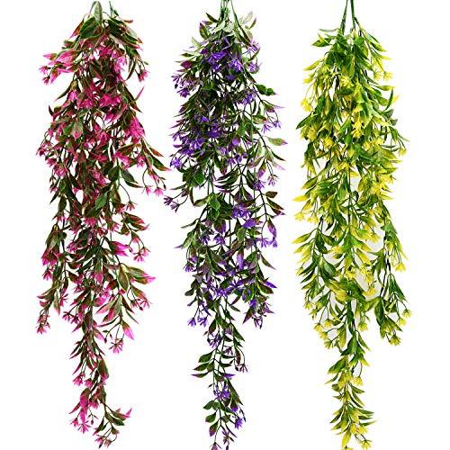 Udefineit 3 Colores Colgante artificial Helecho de Mandarina Arbusto, Planta de Flor de Orquídea Falsa Resistente a Los Rayos UV Flor Falsa, Flor de Naranja Falsa Hoja Vides de Ratán Verdor Follaje